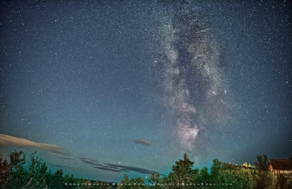 Perseid meteors streaking across the Milky Way